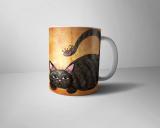 Kaffeetasse weiß mit Motiv Katzenfloh